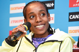 Almaz Ayana at the press conference for the IAAF Diamond League meeting in Paris (Jean-Marie Hervio)