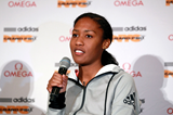 Ajee Wilson at the press conference ahead of the IAAF Diamond League meeting in New York (Victah Sailer)
