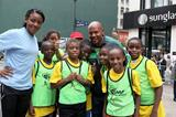 Maurice Greene with his team at the IAAF / Nestlé Kids' Athletics event in New York, June 2014 (Victah Sailer / IAAF)
