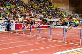 The men's 110m hurdles, with winner Pascal Martinot-Lagarde in lane four, at the 2014 IAAF Diamond League meeting in Monaco (Philippe Fitte)