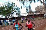 Veronica Nyaruai Wanjiru (l) battles with Mercy Wanjiru (r) in the Thika 5000m (Peter Njenga)