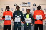 Emmanuel Mutai, Geoffrey Kamworor, Tsegaye Kebede and Dennis Kimetto ahead of the 2014 BMW Berlin Marathon (organisers / www.photorun.net)