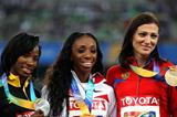 Lashinda Demus of the USA poses with the gold medal, Melaine Walker of Jamaica the silver and Natalya Antyukh of Russia the bronze during the medal ceremony for the women's 400 metres hurdles  (Getty Images)