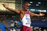 Femi Ogunode celebrates after his area 100m record at the 2014 Asian Games (Getty Images)