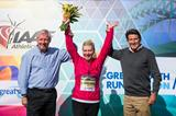 Bupa Great North Run founder Brendan Foster, one millionth finisher Tracy Cramond and IAAF Vice President Lord Sebastian Coe. (organisers)