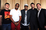 High jumpers Ivan Ukhov, Javier Sotomayor, Mutaz Essa Barshim, Bogdan Bondarenko and Steinar Hoen at the press conference for the IAAF Diamond League meeting in Oslo (Mark Shearman)