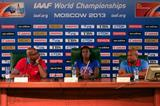 Ed Moses, Dawn Harper and Mike Powell at the IAAF Ambassador Press Conference Moscow 2013 (Getty Images)