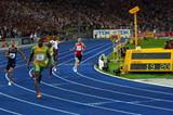 Usain Bolt of Jamaica runs a World Record of 19.19 seconds in the men's 200m in the Berlin Olympic Stadium (Getty Images)