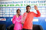 Mulu Seboka and Tsegaye Mekonnen after winning at the 2014 Standard Chartered Dubai Marathon (Organisers / Giancarlo Colombo)