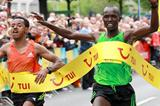 Joseph Kiptum (r) just edges Mergesa Bacha to win the 2012 Hannover Marathon. Both clocked 2:09:56. (Victah Sailer)
