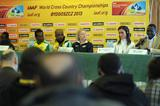 (l to r - Chebet, Merga with interpreter, Kastor, Kowalska, Tergat) -  Athletes at the IAAF Press Conference on the eve of the 40th edition of the IAAF World Cross Country Championships in Bydgoszcz, Poland, Saturday 23 March (Getty Images)