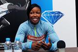 Carmelita Jeter at the 2013 IAAF Diamond League in Birmingham pre-event press conference (Mark Shearman)