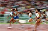 Sherone Simpson on her way to defeating Marion Jones in Rome Golden League (Getty Images)