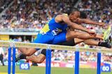 Fast! Aries Merritt edges Jason Richardson in the Birmingham high hurdles, 12.95 to 12.98 (Jean-Pierre Durand)