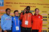 Zersenay Tadese, Valeria Straneo, Wilson Kiprop and Jessica Draskau-Petersson at the press conference ahead of the IAAF/AL-Bank World Half Marathon Championships in Copenhagen (Getty Images)