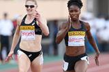 Tianna Bartoletta on her way to winning the 100m in Tokyo (Getty Images)