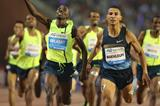 Taoufik Makhloufi just beating Silas Kiplagat in the 1500m at the 2014 IAAF Diamond League final (Gladys von der Laage)