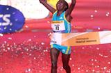 Caroline Kilel wins the 2010 Frankfurt Marathon in a 2:23:25 course record (Victah Sailer)