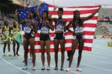 The victorious US 4x400m team at the 2012 IAAF World Junior Championships: Erika Rucker, Olivia Ekpone, Kendall Baisden and Ashley Spencer (Getty Images)