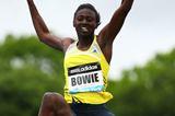 Tori Bowie in the long jump at the IAAF Diamond League meeting in New York (Getty Images)