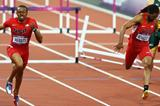 Aries Merritt of the United States crosses the finish line ahead of Jason Richardson of the United States to win gold in the Men's 110m Hurdles Final of the London Olympic Games  on August 8, 2012  (Getty Images)