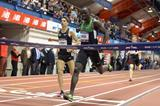 Lopez Lomong beating Matt Centrowitz to win the Wanamaker Mile at the 2013 Millrose Games (Kirby Lee)