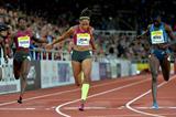 Allyson Felix winning the 200m at the 2014 IAAF Diamond League meeting in Stockholm (H&A Sjogren)