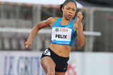 Allyson Felix on her way to winning the 200m at the IAAF Diamond League meeting in Lausanne (Victah Sailer)