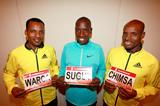 Sahle Warga, Henry Sugut and Derissa Chimsa ahead of the 2013 Scotiabank Toronto Waterfront Marathon (Victah Sailer / organisers)