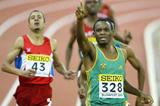 Mbulaeni Mulaudzi (RSA) celebrates winning the 800m (Getty Images)