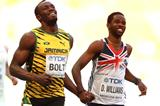 Usain Bolt and Delano Williams in the mens 200m at the IAAF World Athletics Championships Moscow 2013 (Getty Images)