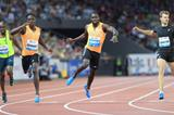 Alonso Edward (left) and Nickel Ashmeade battle for the 200m title at the 2014 IAAF Diamond League final in Zurich (Jean-Pierre Durand)