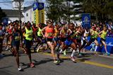 Meb Keflezighi takes an early lead in the 2014 Boston Marathon (Getty Images)