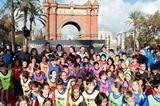 Frankie Fredericks, Pauline Davis-Thompson, Dan O'Brien, Irena Szewinska, Yelena Isinbayeva, Fermin Cacho and Meseret Defar at the IAAF/Nestlé Kids' Athletics event in Barcelona (Emilio Andreoli)