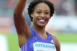 Sharika Nelvis after winning the 100m hurdles in Ostrava (Organisers / Luděk Šipla)
