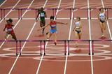 Natalya Antyukh of Russia and Lashinda Demus of the United States lead the field in the Women's 400m Hurdles Final on Day 12 of the London 2012 Olympic Games on 8 August 2012 (Getty Images)