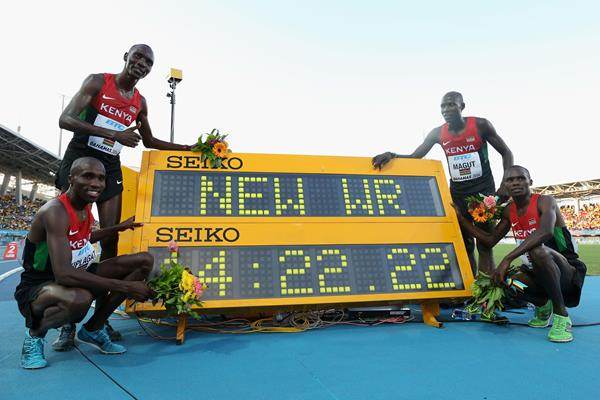 (L-R) Silas Kiplagat, Asbel Kiprop, James Kiplagat Magut and Collins Cheboi of Kenya pose together after setting a new world record of 14:22.22 in the Men's 4x1500 metres relay final during day two of the IAAF World Relays (Getty Images)