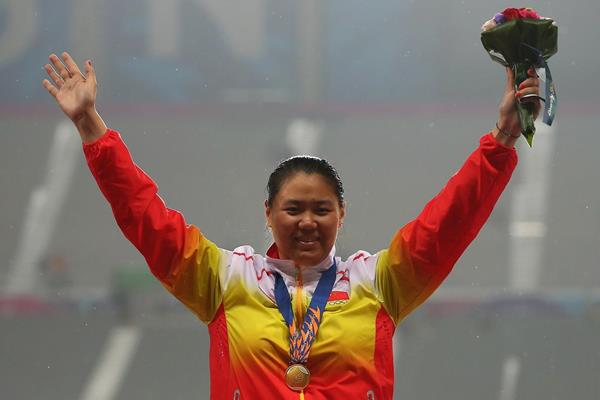 Hammer winner Zhang Wenxiu at the 2014 Asian Games (Getty Images)