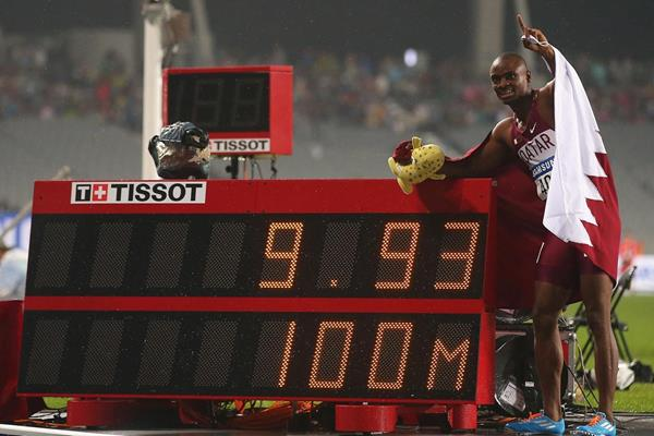Femi Ogunode after his area 100m record at the 2014 Asian Games (Getty Images)