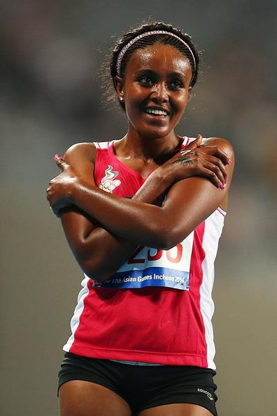 UAE's Alia Saeed Mohammed after winning the 10,000m at the 2014 Asian Games (Getty Images)