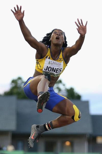 Akela Jones in the long jump at the IAAF World Junior Championships, Oregon 2014 (Getty Images)